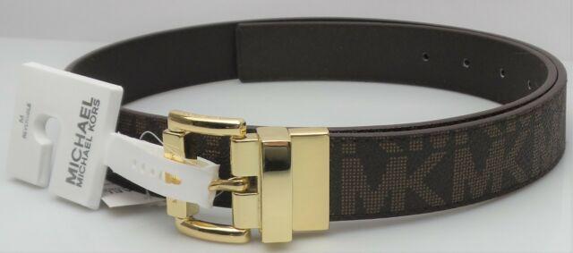 Michael Kors MK Logo 553756C Brown Faux Leather Reversible Belt Size M