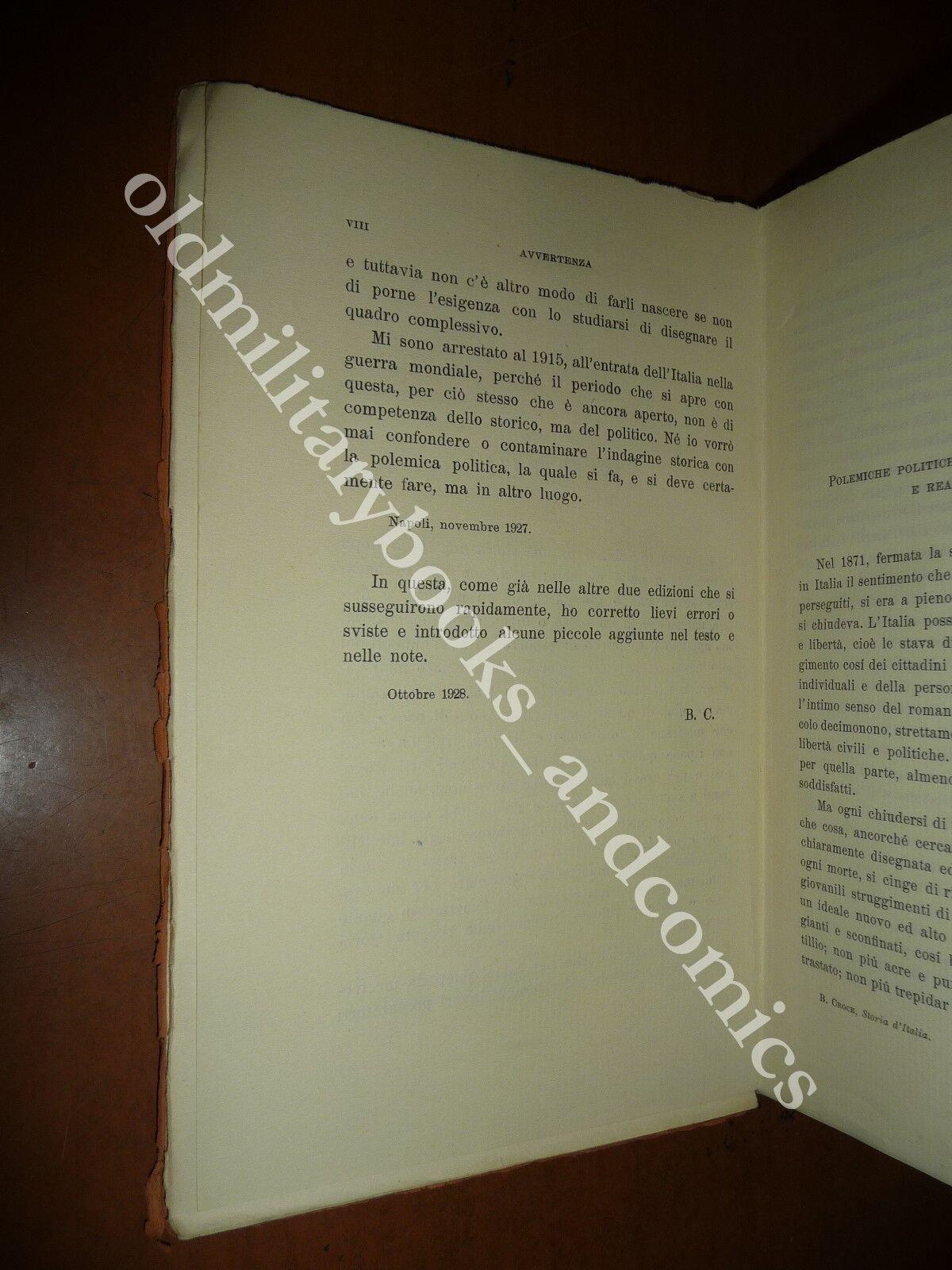 STORIA D'ITALIA DAL 1871 AL 1915 BENEDETTO CROCE 1943 RISORGIMENTO