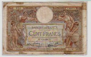 Francia-France-100-ff-11-08-1938-MB-Poor-pick-86-lotto-25