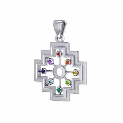 Large Chakra Symbols Sterling Silver Pendant Peter Stone Fine Unique Jewelry