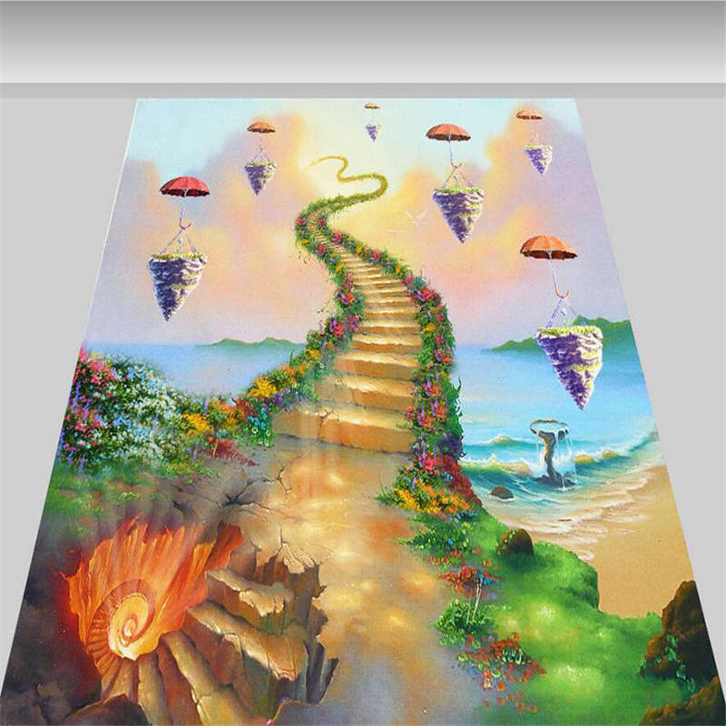 Magic Stairs To To To Sky 3D Floor Mural Photo Flooring Wallpaper Home Kids Wall Decal c2c01d