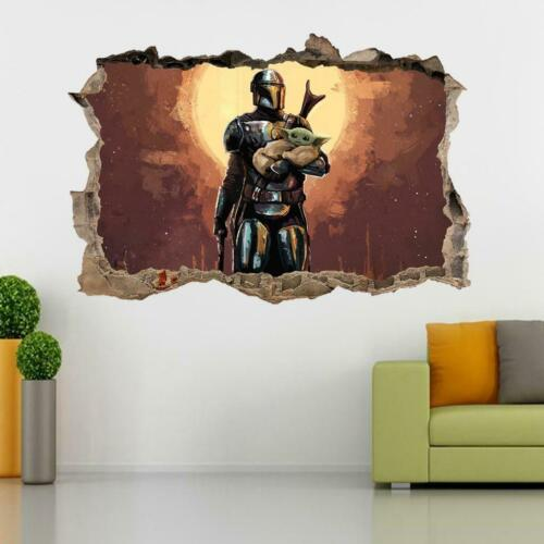 The Mandalorian 3D Smashed Wall Sticker Decal Home Decor Mural Star Wars J1477