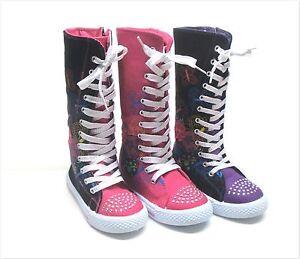 New Kids Girl Mid Calf High Top Canvas Boots Tennis Shoes Sz 10 4