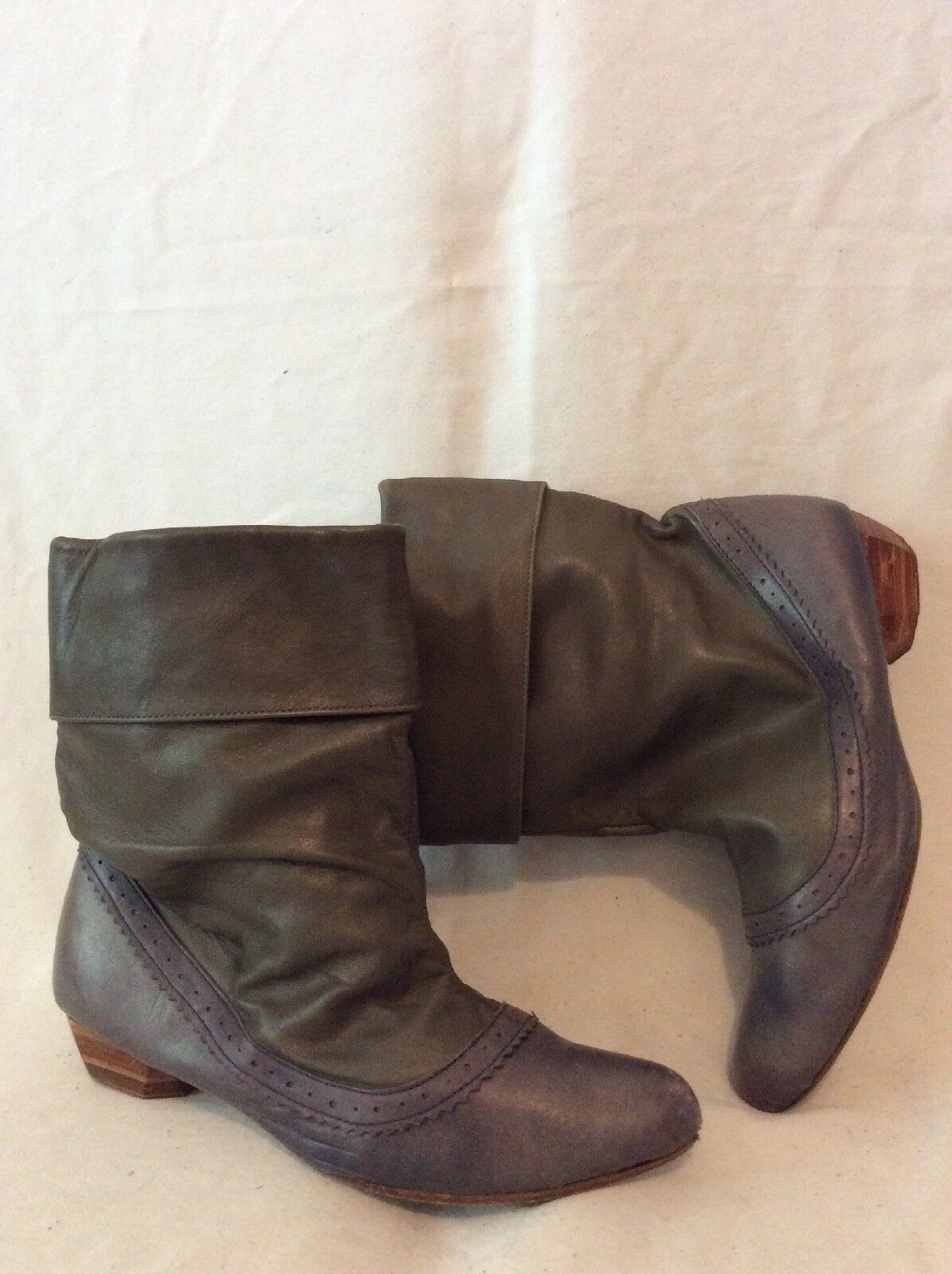 Urban Code Brown&Purple Mid Calf Leather Boots Size 38