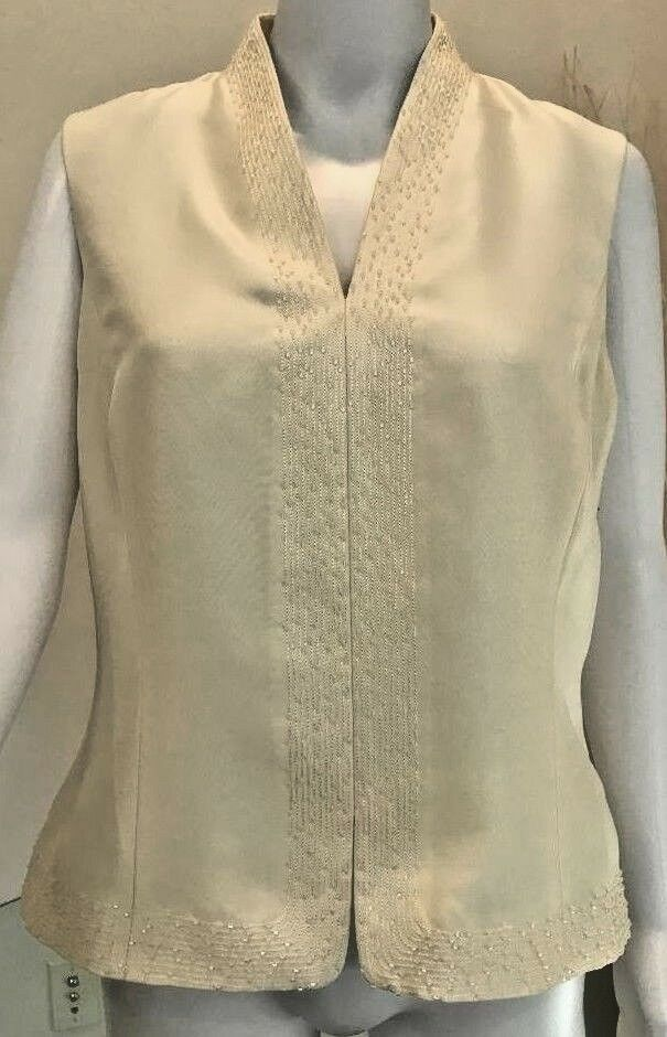 Ann Taylor Silk Beaded Ivory Vest New With Tags Side Zip Size 10