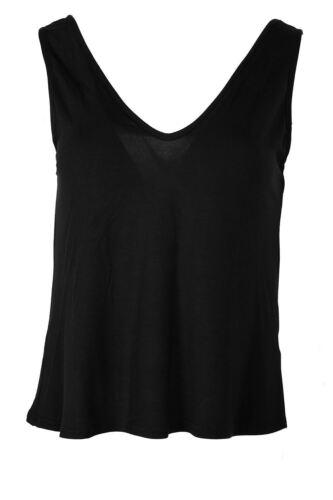Womens Ladies Muscle Vest V Neck Front V Back Tank T Shirt Top Plus Size UK 8-22