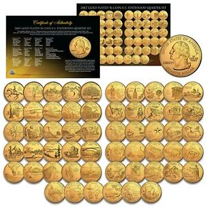 US-Statehood-Quarters-GOLD-plated-Legal-Tender-56-Coin-Complete-Set-Capsules