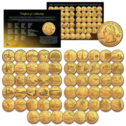 Capsules 56-Coin Complete Set US Statehood Quarters GOLD plated Legal Tender