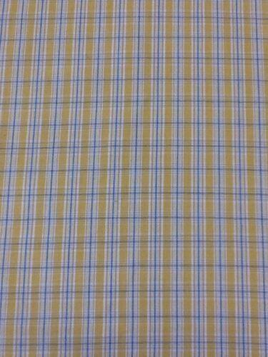 Designer Giallo e blu a quadri tessuto di cotone AL METRO