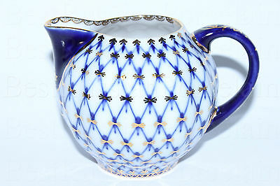 Russian Imperial Lomonosov Porcelain Creamer  Cobalt Net 22k GOLD Russia