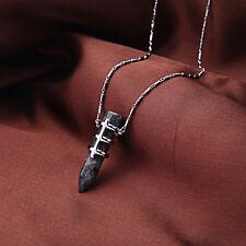 Collier Mi Long Argenté Pendantif Obsidienne Noir Géométrique Colonne Retro DDZ2