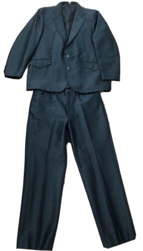 Vintage Men's Mesquite Niver Western Wear Suit Nav
