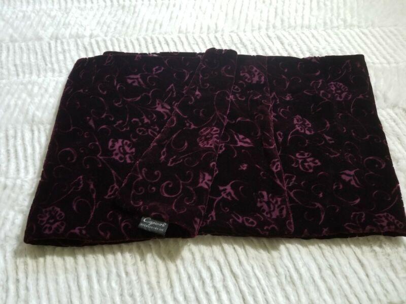"Vtg. Cejon Maroon/burgundy Silk Blend Burnout Velvet Floral Scarf- 10.5"" X 60"""