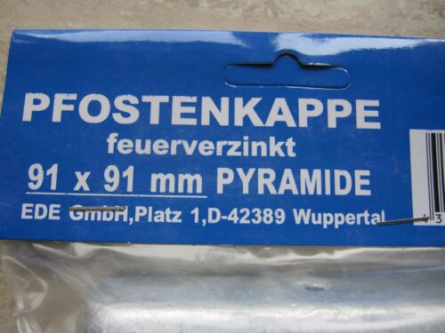 Kappen Abdeckung Zaun verzinkt Pyramide Pfosten  9 x 9 cm    1St.//1,12€ 25 St