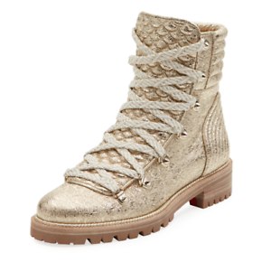 official photos 7fbb1 be1a1 NIB Christian Louboutin Mad Boot Platine Gold Flat Combat ...