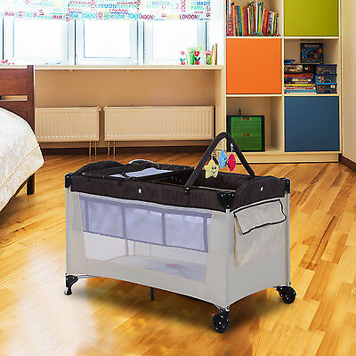 HOMCOM Portable Baby Travel Cot Playpen Sleep Bed Bassinet Changing Table