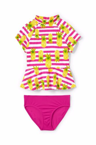 LANDS/' END Toddler Girls 3T Pineapple Stripe 2-Piece Rashguard Swim Set NWT