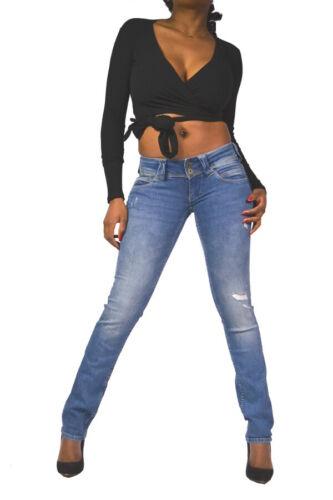 PEPE Jeans Venere re9 destroyed low waist straight leg mezzi BLU Koll. hw2019