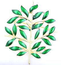 Gold tone green enamel tree brooch bag pin, Xmas Christmas gift