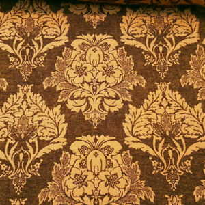 GOLD-BROWN-DAMASK-HEAVY-CHENILLE-UPHOLSTERY-BROCADE-FABRIC-58-034-BY-THE-YARD