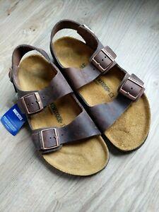 Details about Birkenstock Milano Leather Sandals Habana Brown EU 44 R Men's 11 11.5 Medium