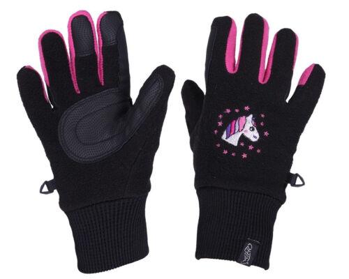 QHP Fleece-Reithandschuhe Fresco Jun schwarz-pink gesticktes Einhorn Winter 2019
