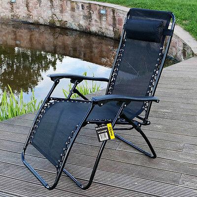Marko Reclining Sun Lounger Garden Chair Textoline Armrest Relaxing Outdoor UK