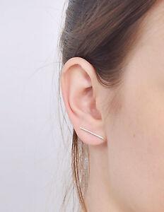 Image Is Loading Sterling Silver 925 Staple Earrings Simple Stud