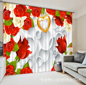 Image Is Loading 3D Red Flower 8 Blockout Photo Curtain Printing
