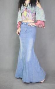 a9d75c8b695 Women Lady Casual Denim Jeans Mermaid Skirts Trendy Long Skirt Retro ...