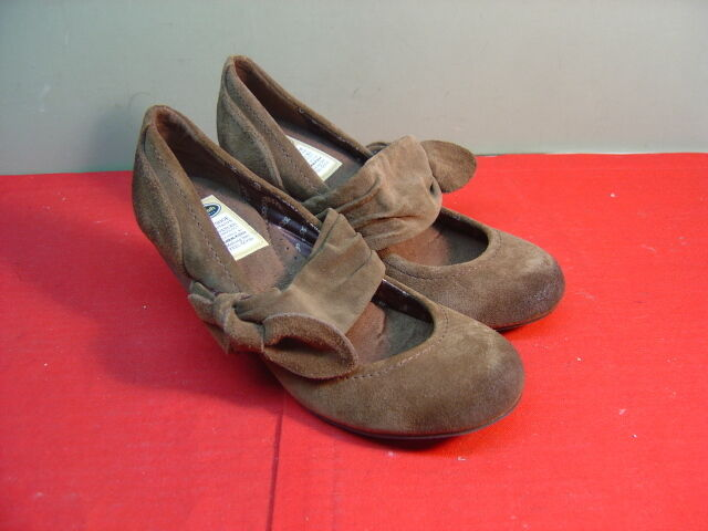 Womens DR. SCHOLL'S Brown Suede Leather 6M Mary Jane Heels Size 6M Leather 72d4d0