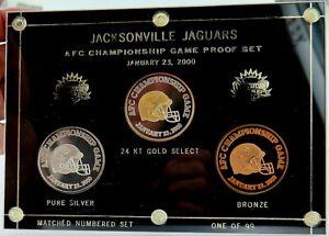 SUPER-RARE-L-ED-2000-JACKSONVILLE-JAGUARS-MEDAL-PROOF-SET-GOLD-amp-SILVER