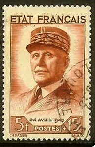 FRANCE-TIMBRE-STAMP-N-580-034-PETAIN-5F-15F-ROUGE-BRUN-034-OBLITERE-TB