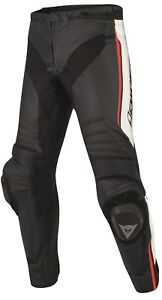 DAINESE-MISANO-noir-blanc-rouge-haute-qualite-HOMMES-PANTALON-MOTO-en-cuir