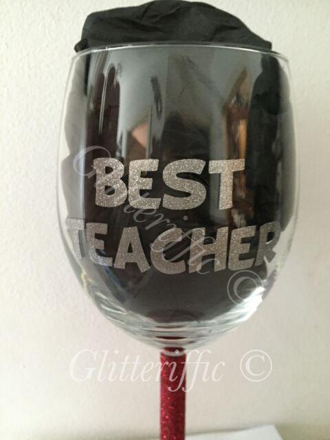 X10 best teacher silver glitter vinyl decal sticker for wine glasses mugs gift