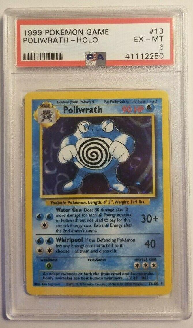 RARE PSA 6 EXCELLENT-MINT Base Set HOLO Poliwrath Pokemon Card  102 41112280