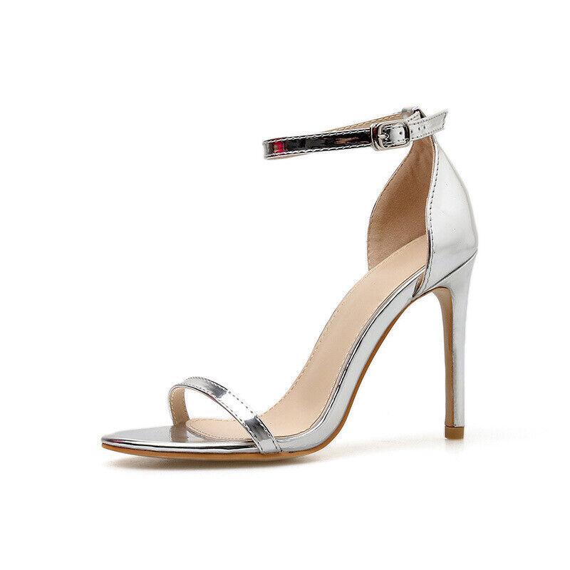 Sandali stiletto 12 cm argent lucido tacco spillo pelle sintetica eleganti 1019