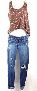 Medium-Wash-Distressed-Hollister-Super-Skinny-Denim-Jeans-Size-0R-W24-L31-W-Top