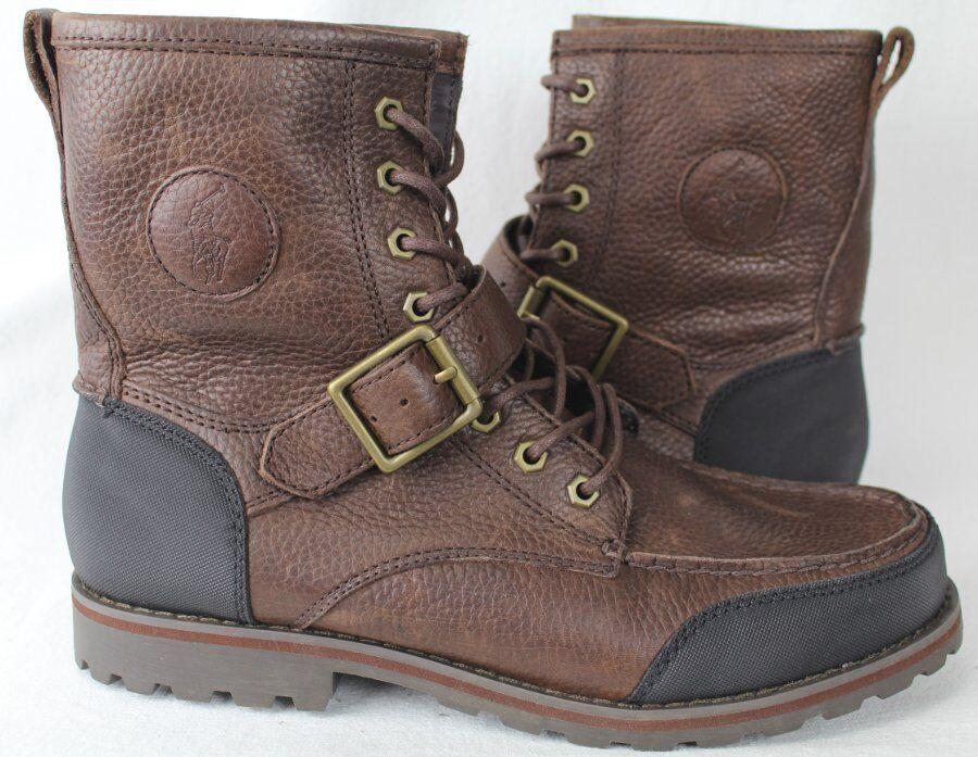 POLO Ralph Lauren Weybrook Leather Boots Dark Brown Black NWT