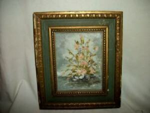SMALL-FLORAL-OIL-PAINTING-CHIPPY-MID-CENTURY-FRAME-PALLET-KNIFE-PINK-FLOWERS