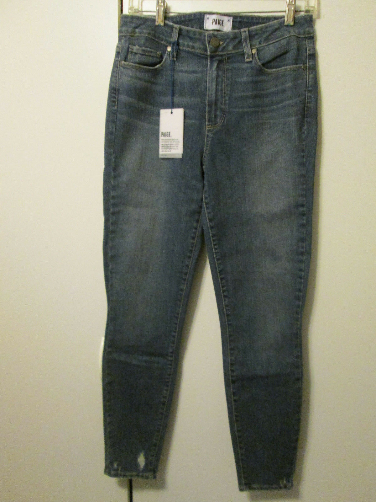 229 Paige Hoxton High Rise Ankle Skinny Jeans Gal Destructed Ankles Size 29 NWT