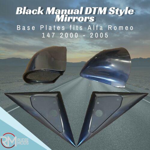 Black Manual DTM Style Mirrors /& Base Plates fits Alfa Romeo 147 2000-2005