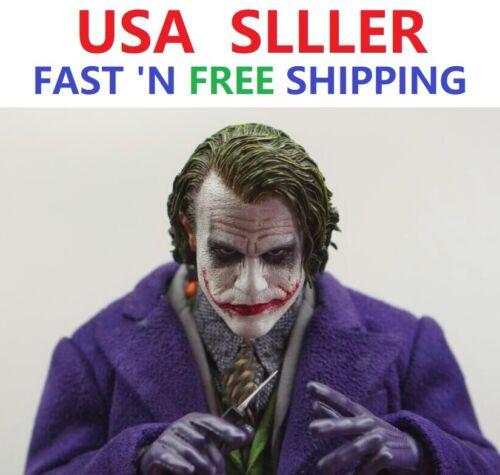 CUSTOM 1//6 Scale Joker Heath Ledger Head Sculpt for 12/'/' Narrow Shoulder Body