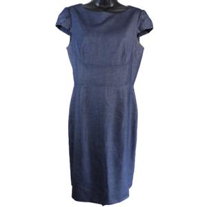 Antonio-Melani-Denim-Blue-Cap-Sleeve-Dress-Women-039-s-Size-6