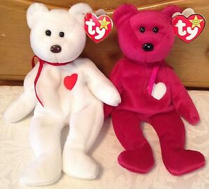 TY Teddy Bears Valentina Valentino Beanie Baby Set with P.E. Pellets ... aaf53dde71c