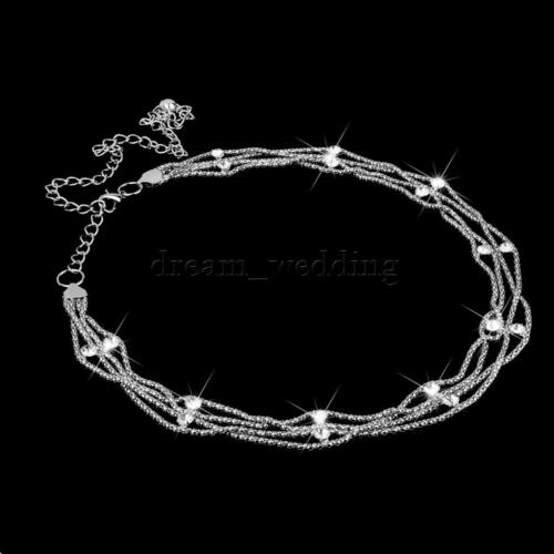 Silber Taillengürtel Kettengürtel Kleidketten Taille Gürtel Raute Strass