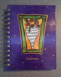 BNIP-Spiral-Bound-Address-Book-Purple-A-Z-Flower-Vase-Picture-Frame-New-Book