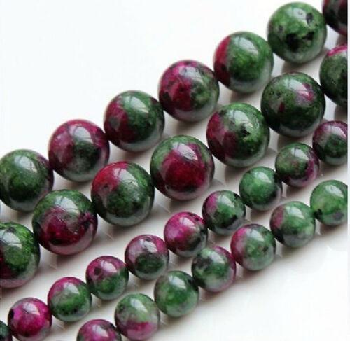 "Nouveau 4-12 mm Rouge Vert rubis zoïsite Round Loose Beads 15/"" Strand"