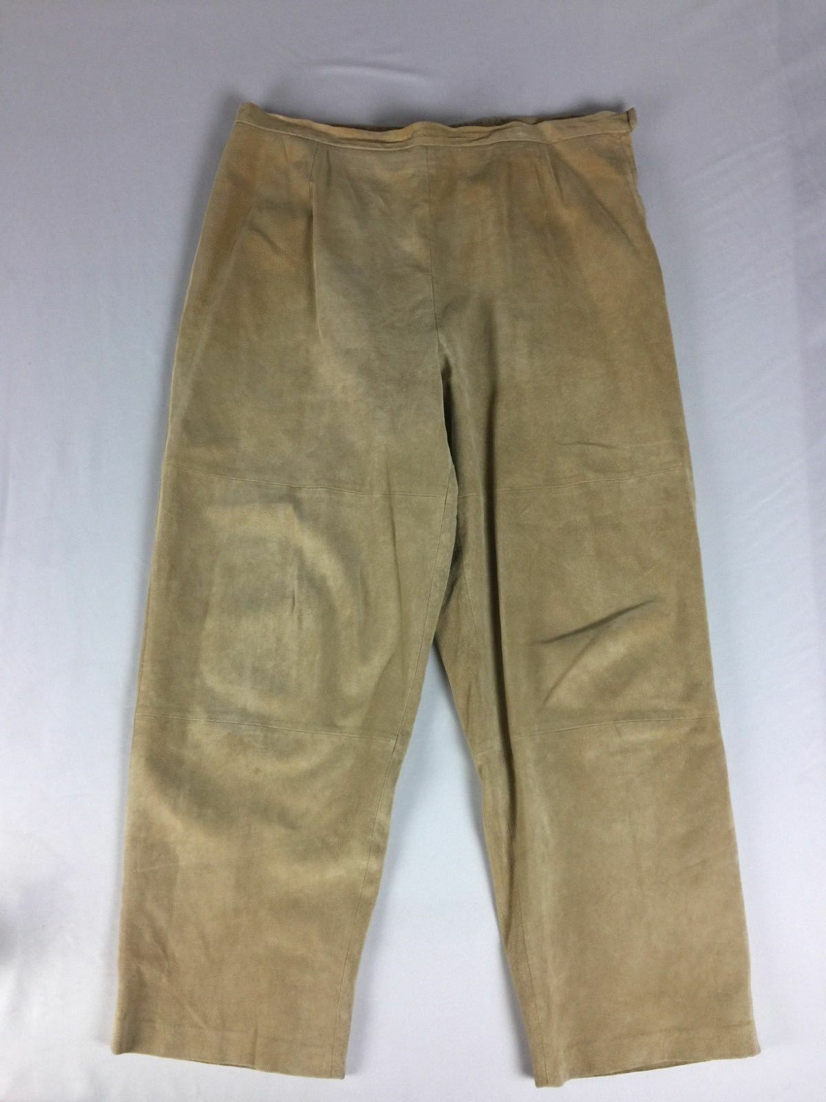Terry Lewis Classic Luxuries Womens Pants Size 20P Tan Leather Side Zip