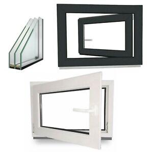 Kunststofffenster-Anthrazit-Fenster-3-fach-Fenster-Grau-Kellerfenster-Innen-Weis